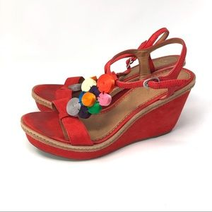 Anthropologie Miss Albright Red Wedge Sandals